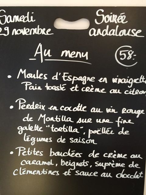menu soirée andalouse